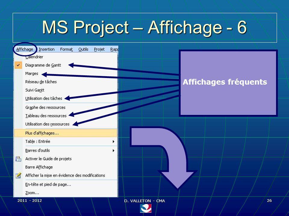2011 - 2012 D. VALLETON - CMA 26 MS Project – Affichage - 6 Affichages fréquents