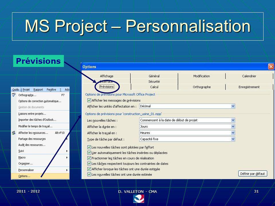2011 - 2012 D. VALLETON - CMA 31 MS Project – Personnalisation Prévisions