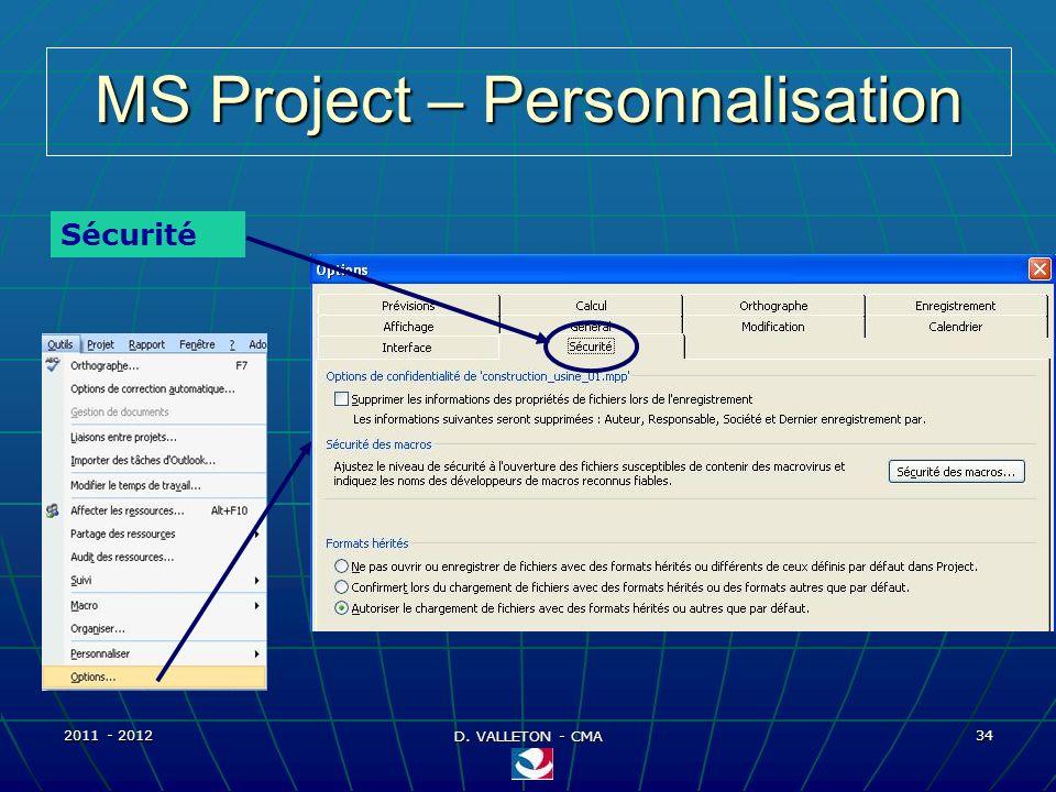 2011 - 2012 D. VALLETON - CMA 34 MS Project – Personnalisation Sécurité