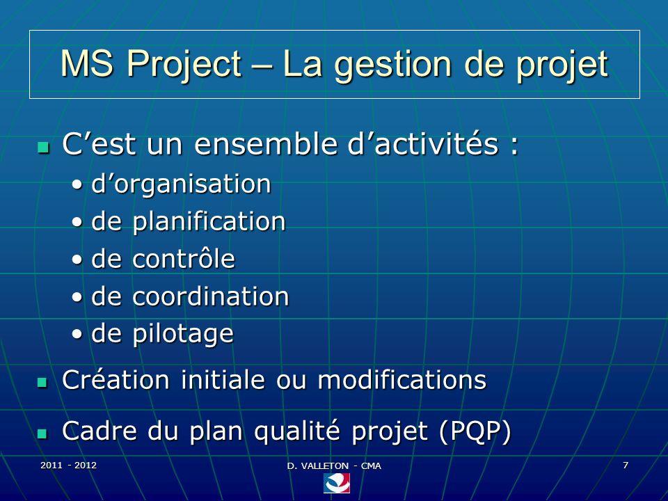 2011 - 2012 D. VALLETON - CMA 7 MS Project – La gestion de projet Cest un ensemble dactivités : Cest un ensemble dactivités : dorganisationdorganisati