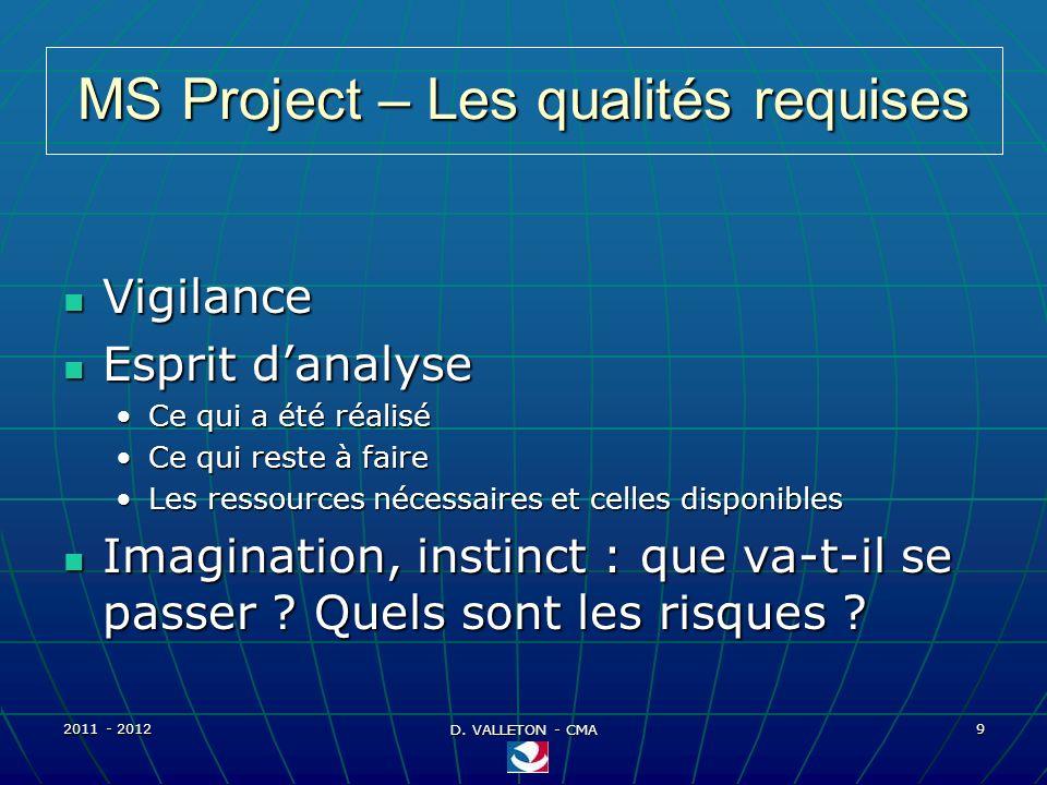 2011 - 2012 D. VALLETON - CMA 9 MS Project – Les qualités requises Vigilance Vigilance Esprit danalyse Esprit danalyse Ce qui a été réaliséCe qui a ét
