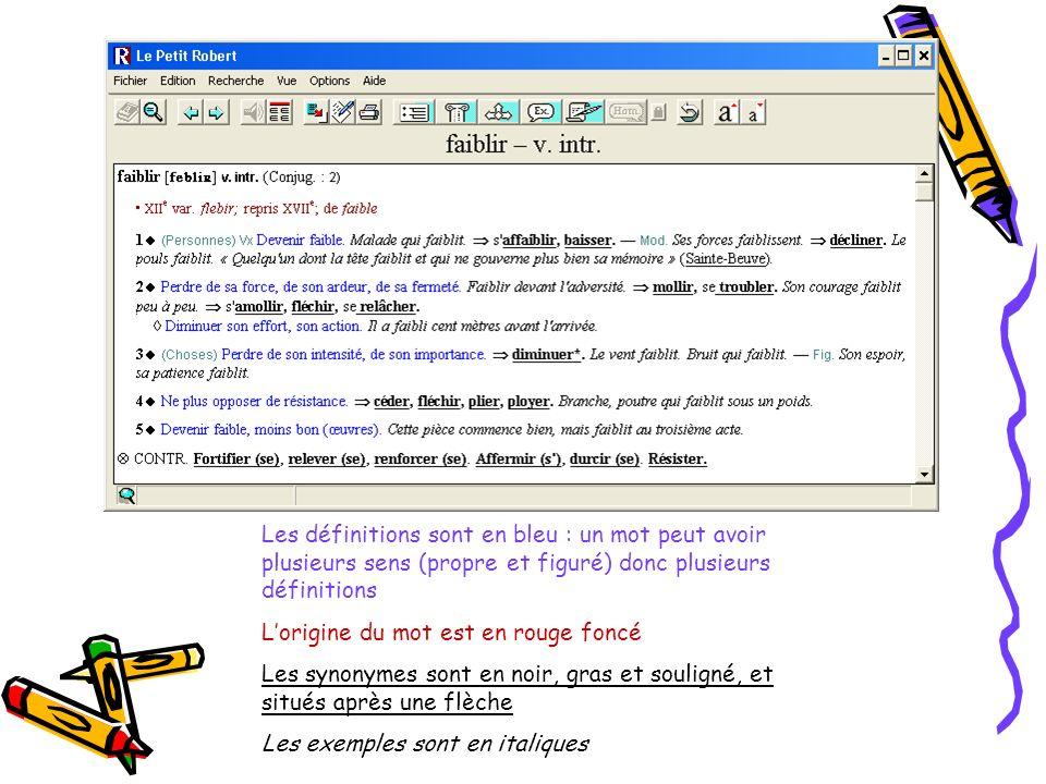 Les définitions sont en bleu : un mot peut avoir plusieurs sens (propre et figuré) donc plusieurs définitions Lorigine du mot est en rouge foncé Les synonymes sont en noir, gras et souligné, et situés après une flèche Les exemples sont en italiques