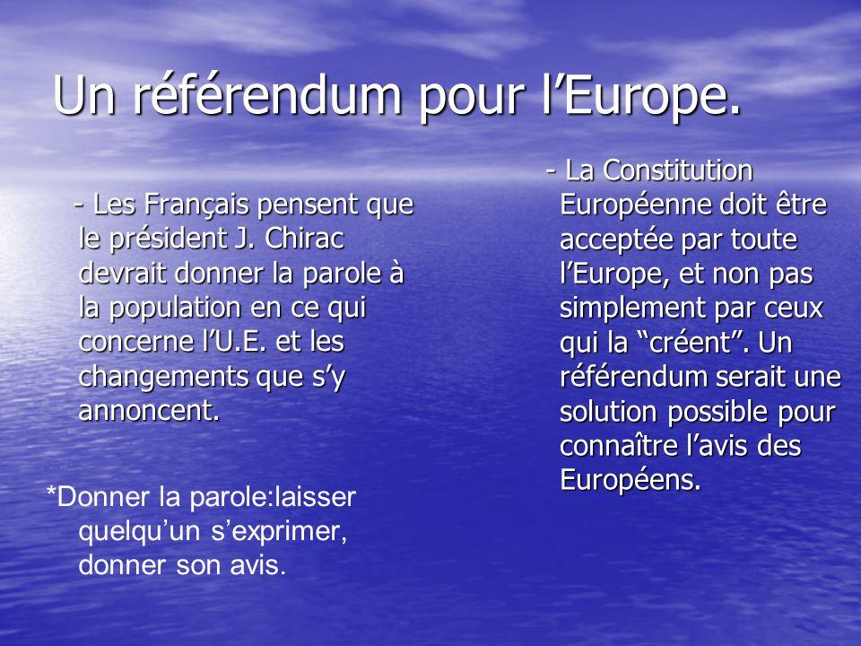 La Constitution Européenne: I) Un référendum pour lEurope, Le Monde 29/10/03 I) Un référendum pour lEurope, Le Monde 29/10/03 II) Un référendum pour lEurope, Le Monde 30/10/03 II) Un référendum pour lEurope, Le Monde 30/10/03 III) Europe: Jacques Chirac sest entretenu avec V.