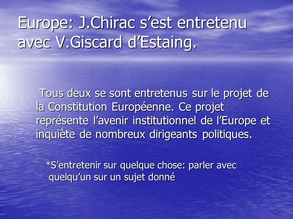 Un référendum pour lEurope. - Les Français pensent que le président J.