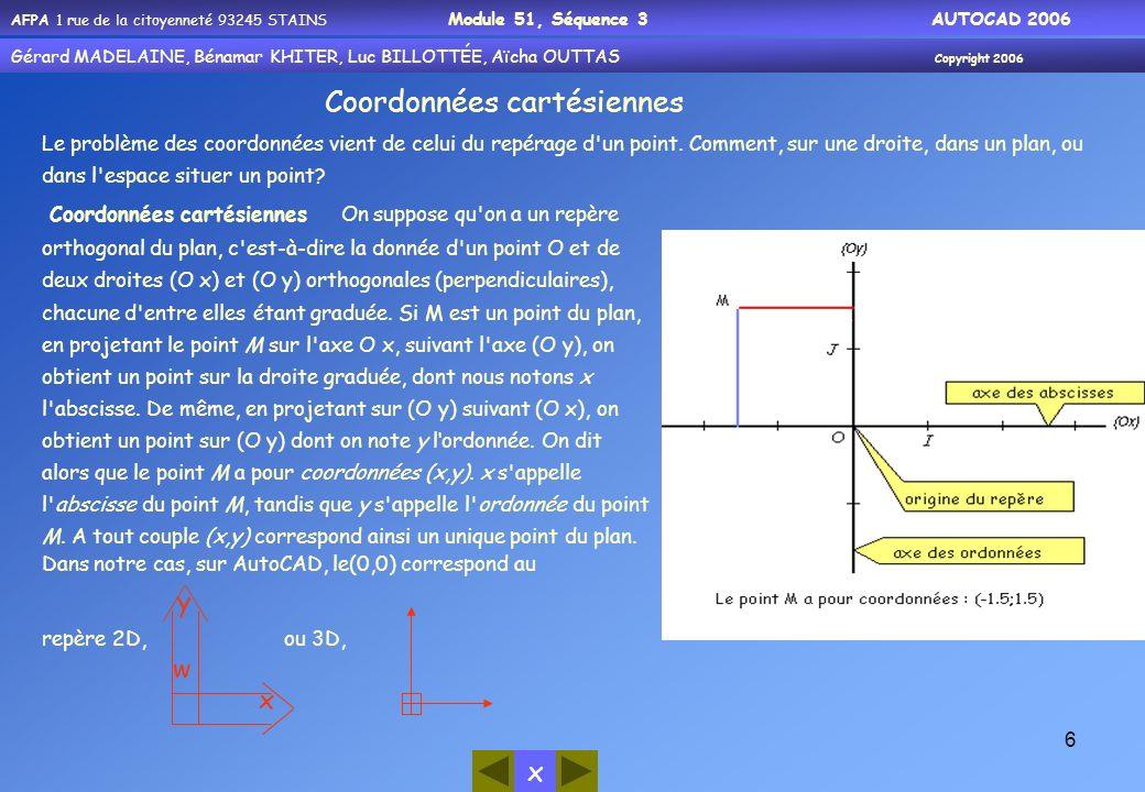 AFPA 1 rue de la citoyenneté 93245 STAINS Module 51, Séquence 3 AUTOCAD 2006 Gérard MADELAINE, Bénamar KHITER, Luc BILLOTTÉE, Aïcha OUTTAS Copyright 2