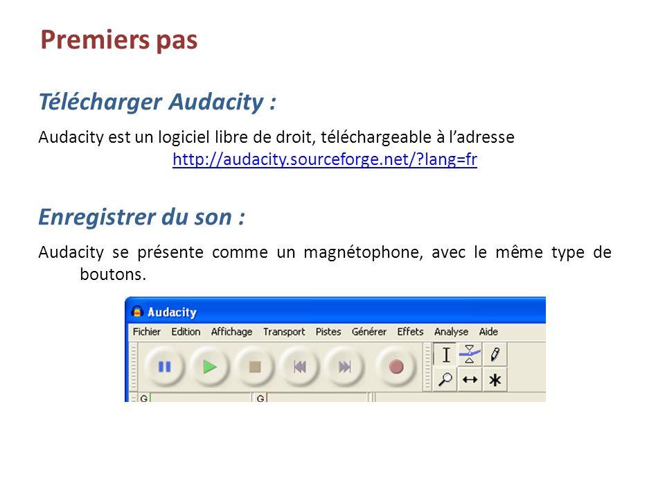 Enregistrer du son : Audacity se présente comme un magnétophone, avec le même type de boutons. Premiers pas Télécharger Audacity : Audacity est un log