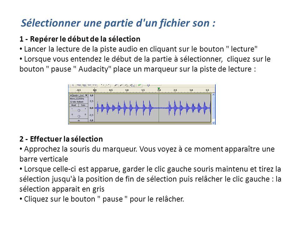 Sélectionner une partie d'un fichier son : 1 - Repérer le début de la sélection Lancer la lecture de la piste audio en cliquant sur le bouton