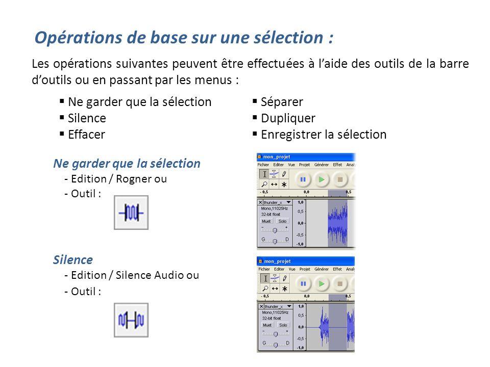 Opérations de base sur une sélection : Les opérations suivantes peuvent être effectuées à laide des outils de la barre doutils ou en passant par les m