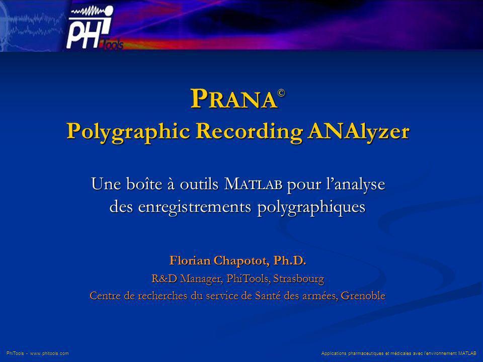 PhiTools - www.phitools.com Applications pharmaceutiques et médicales avec lenvironnement MATLAB P RANA © Polygraphic Recording ANAlyzer Une boîte à o