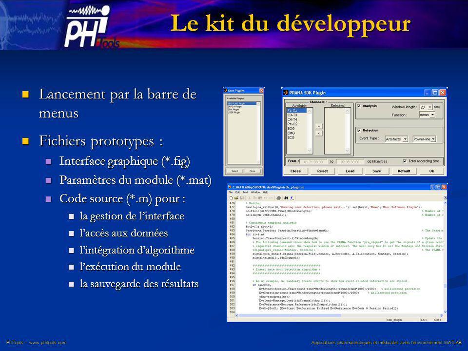 PhiTools - www.phitools.com Applications pharmaceutiques et médicales avec lenvironnement MATLAB Le kit du développeur Lancement par la barre de menus