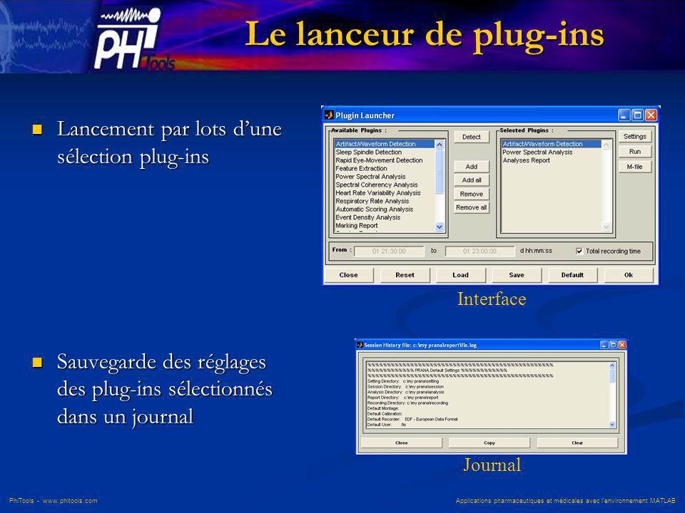 PhiTools - www.phitools.com Applications pharmaceutiques et médicales avec lenvironnement MATLAB Le lanceur de plug-ins Lancement par lots dune sélect