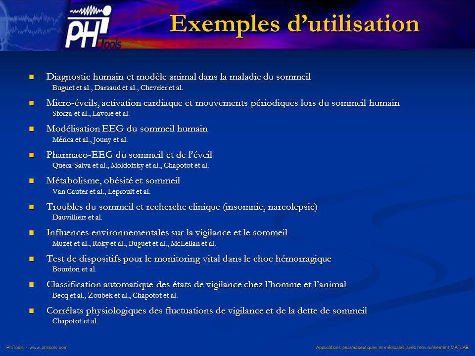 PhiTools - www.phitools.com Applications pharmaceutiques et médicales avec lenvironnement MATLAB Exemples dutilisation Diagnostic humain et modèle ani