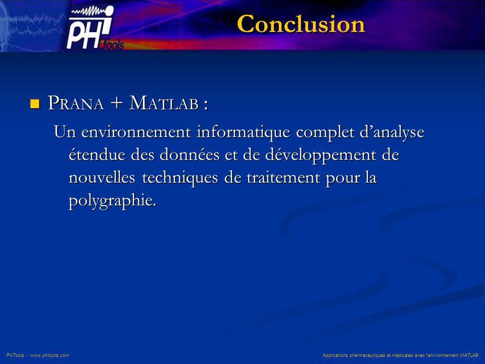 PhiTools - www.phitools.com Applications pharmaceutiques et médicales avec lenvironnement MATLAB Conclusion P RANA + M ATLAB : P RANA + M ATLAB : Un e