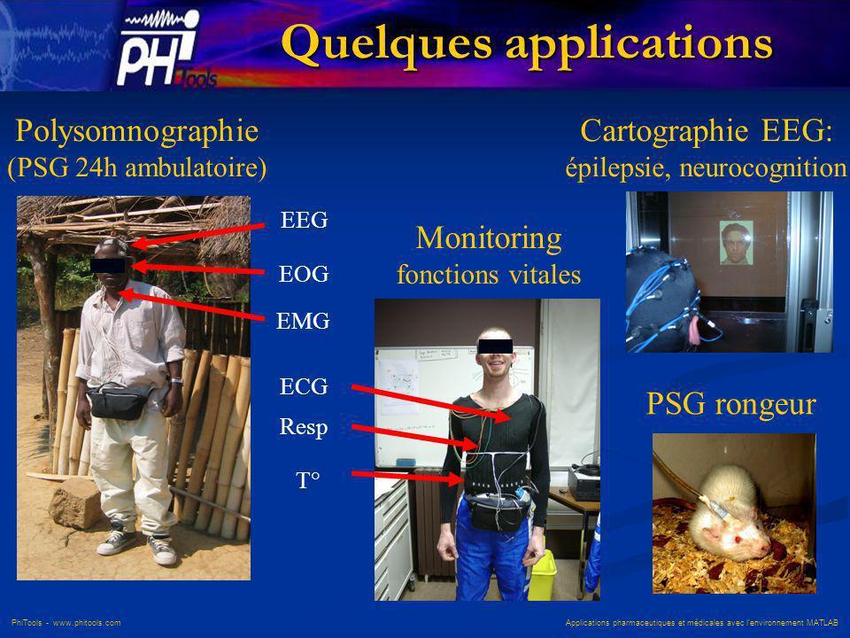 PhiTools - www.phitools.com Applications pharmaceutiques et médicales avec lenvironnement MATLAB EEG EOG EMG ECG Resp Polysomnographie (PSG 24h ambula