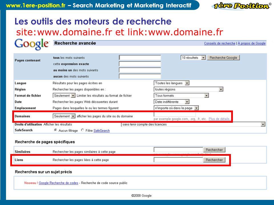 www.1ere-position.fr – Search Marketing et Marketing Interactif Merci de votre Attention ;-) Comment créer un lien vers nous .