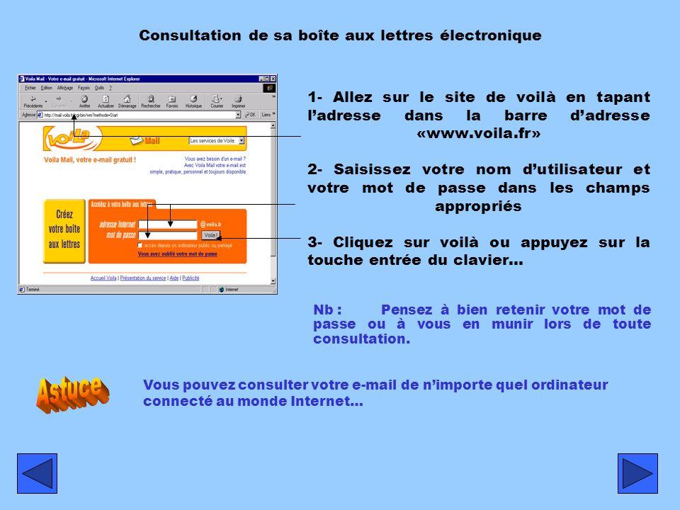 1- Allez sur le site de voilà en tapant ladresse dans la barre dadresse «www.voila.fr» 2- Saisissez votre nom dutilisateur et votre mot de passe dans les champs appropriés 3- Cliquez sur voilà ou appuyez sur la touche entrée du clavier… Consultation de sa boîte aux lettres électronique Vous pouvez consulter votre e-mail de nimporte quel ordinateur connecté au monde Internet… Nb :Pensez à bien retenir votre mot de passe ou à vous en munir lors de toute consultation.