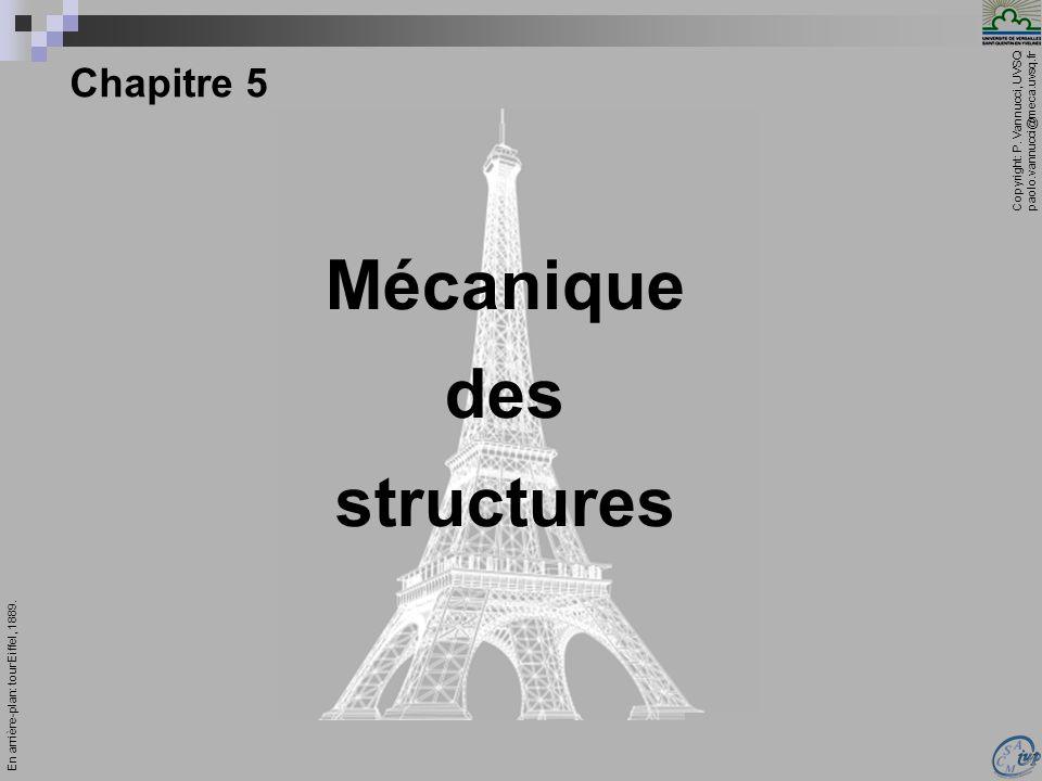 Copyright: P. Vannucci, UVSQ paolo.vannucci@meca.uvsq.fr ________________________________ Mécanique – Chapitre 5 1 Chapitre 5 Mécanique des structures