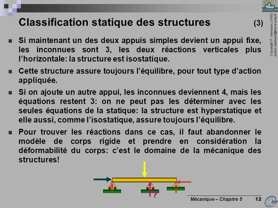 Copyright: P. Vannucci, UVSQ paolo.vannucci@meca.uvsq.fr ________________________________ Mécanique – Chapitre 5 12 Classification statique des struct
