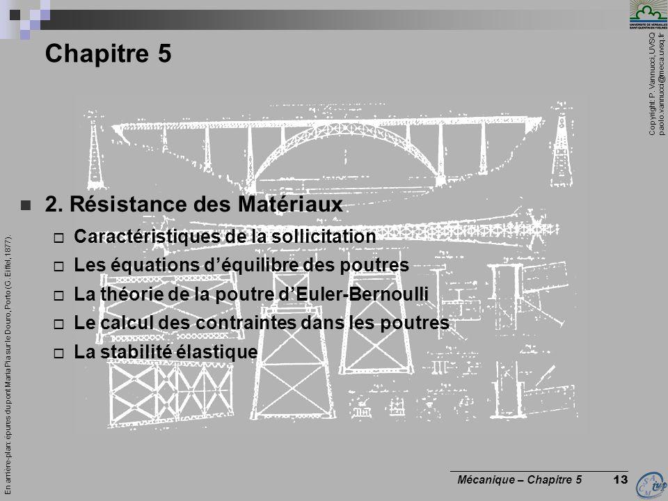 Copyright: P. Vannucci, UVSQ paolo.vannucci@meca.uvsq.fr ________________________________ Mécanique – Chapitre 5 13 Chapitre 5 2. Résistance des Matér