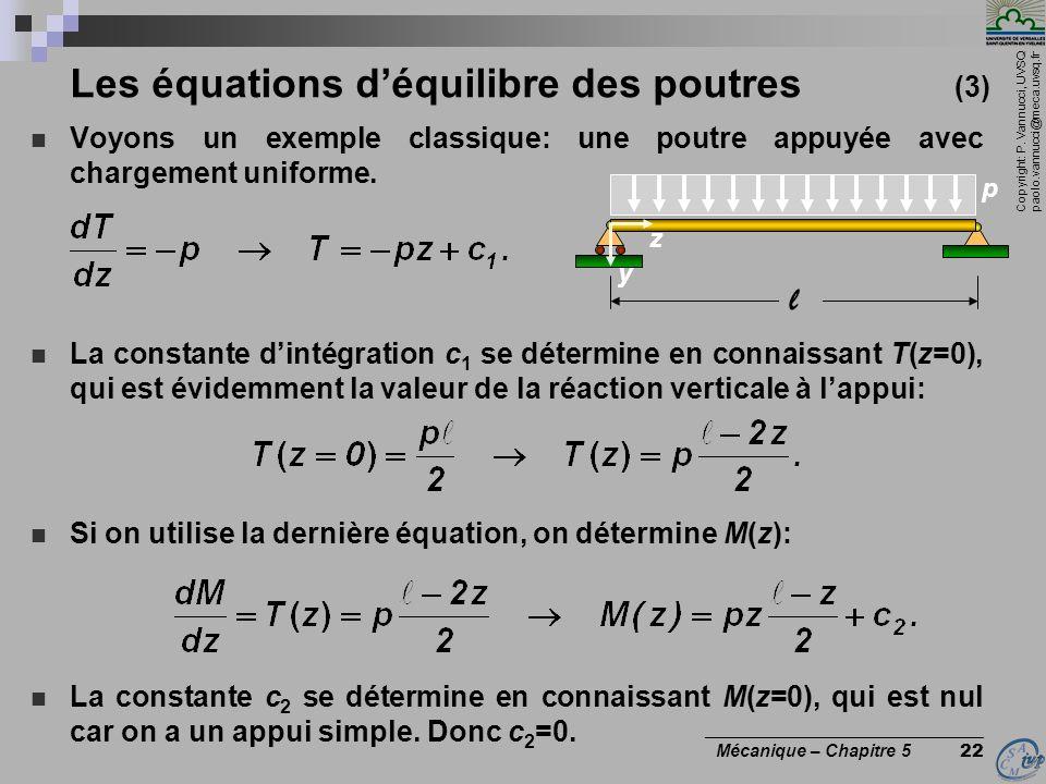 Copyright: P. Vannucci, UVSQ paolo.vannucci@meca.uvsq.fr ________________________________ Mécanique – Chapitre 5 22 Les équations déquilibre des poutr