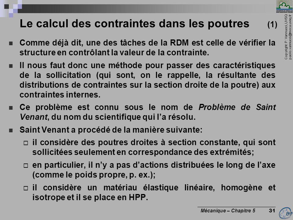 Copyright: P. Vannucci, UVSQ paolo.vannucci@meca.uvsq.fr ________________________________ Mécanique – Chapitre 5 31 Le calcul des contraintes dans les
