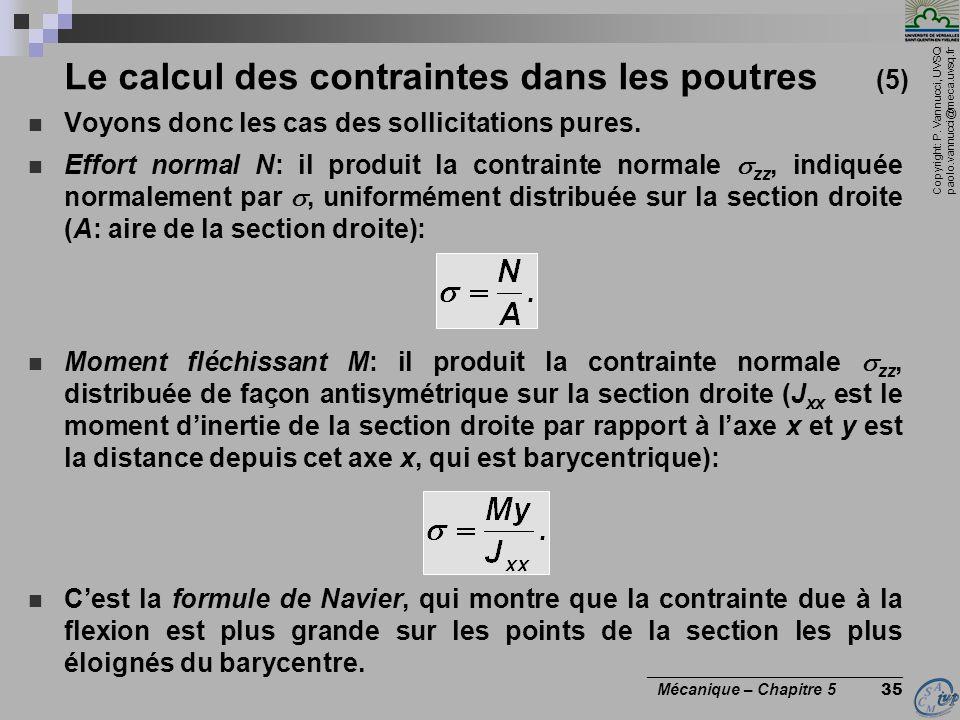 Copyright: P. Vannucci, UVSQ paolo.vannucci@meca.uvsq.fr ________________________________ Mécanique – Chapitre 5 35 Le calcul des contraintes dans les