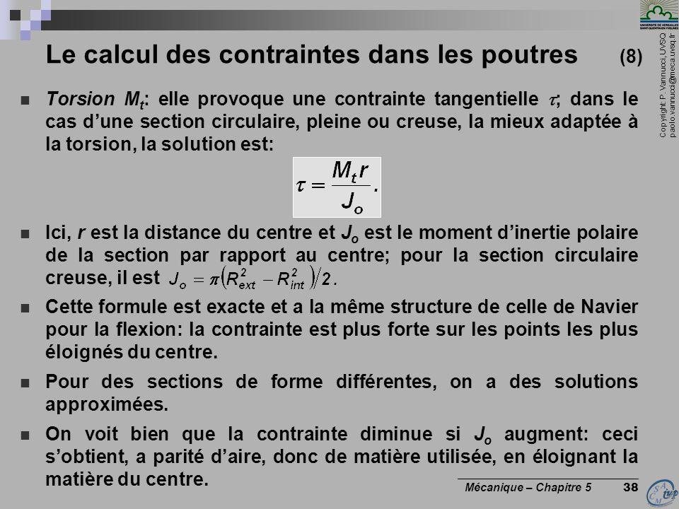Copyright: P. Vannucci, UVSQ paolo.vannucci@meca.uvsq.fr ________________________________ Mécanique – Chapitre 5 38 Le calcul des contraintes dans les
