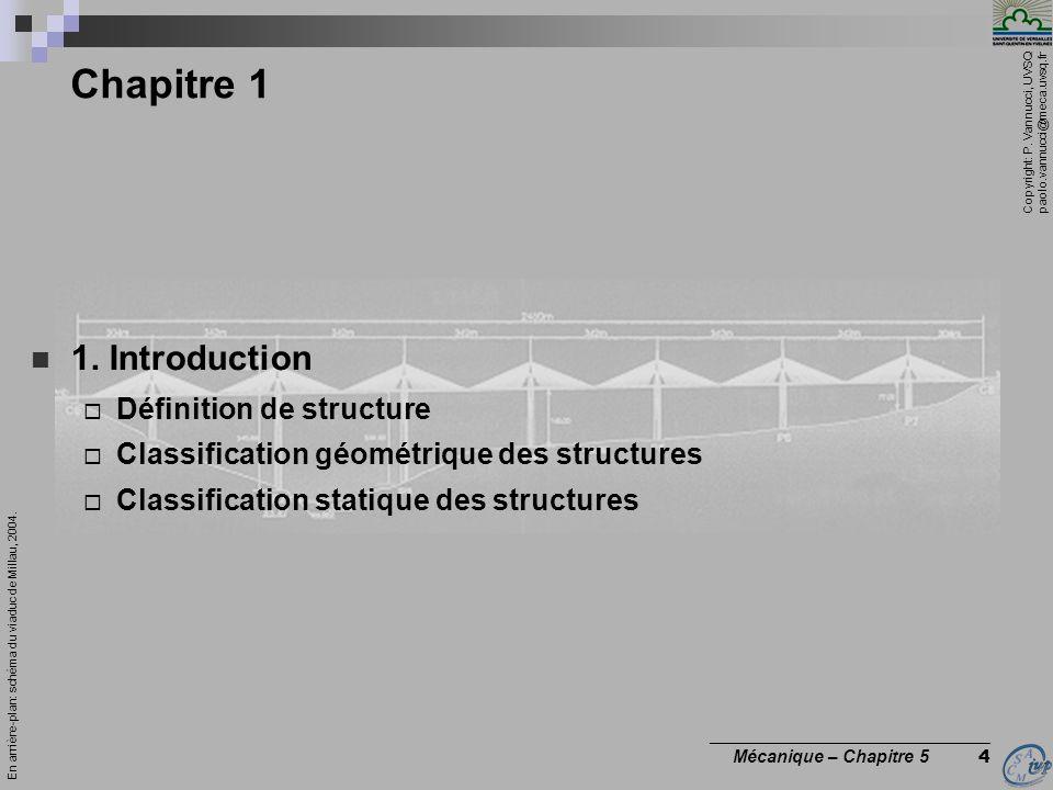 Copyright: P. Vannucci, UVSQ paolo.vannucci@meca.uvsq.fr ________________________________ Mécanique – Chapitre 5 4 Chapitre 1 1. Introduction Définiti