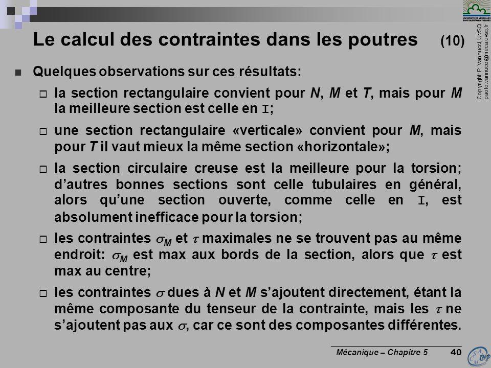 Copyright: P. Vannucci, UVSQ paolo.vannucci@meca.uvsq.fr ________________________________ Mécanique – Chapitre 5 40 Le calcul des contraintes dans les