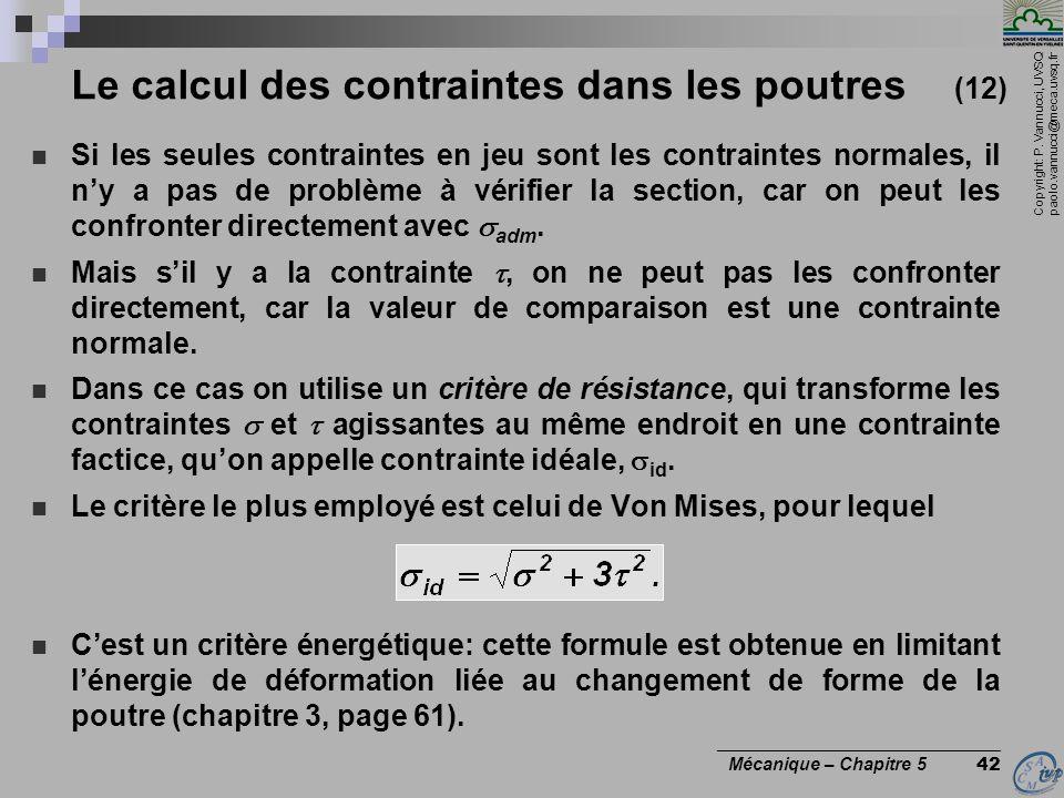 Copyright: P. Vannucci, UVSQ paolo.vannucci@meca.uvsq.fr ________________________________ Mécanique – Chapitre 5 42 Le calcul des contraintes dans les