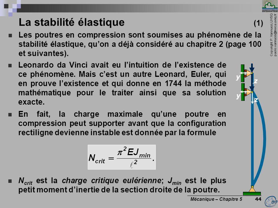 Copyright: P. Vannucci, UVSQ paolo.vannucci@meca.uvsq.fr ________________________________ Mécanique – Chapitre 5 44 Leonardo da Vinci avait eu lintuit