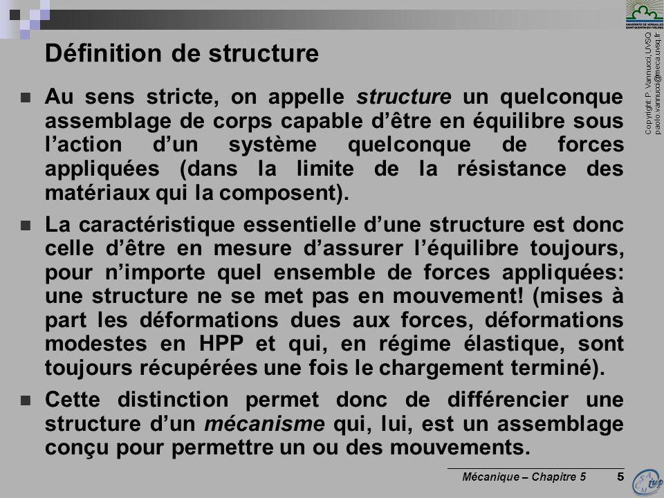 Copyright: P. Vannucci, UVSQ paolo.vannucci@meca.uvsq.fr ________________________________ Mécanique – Chapitre 5 5 Définition de structure Au sens str