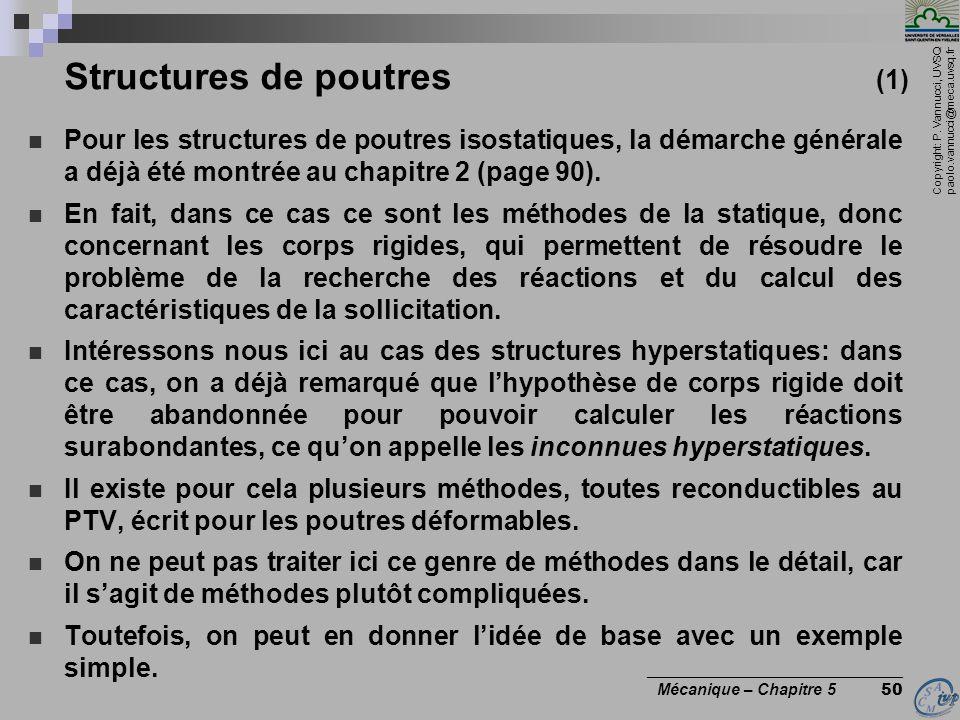 Copyright: P. Vannucci, UVSQ paolo.vannucci@meca.uvsq.fr ________________________________ Mécanique – Chapitre 5 50 Structures de poutres (1) Pour les