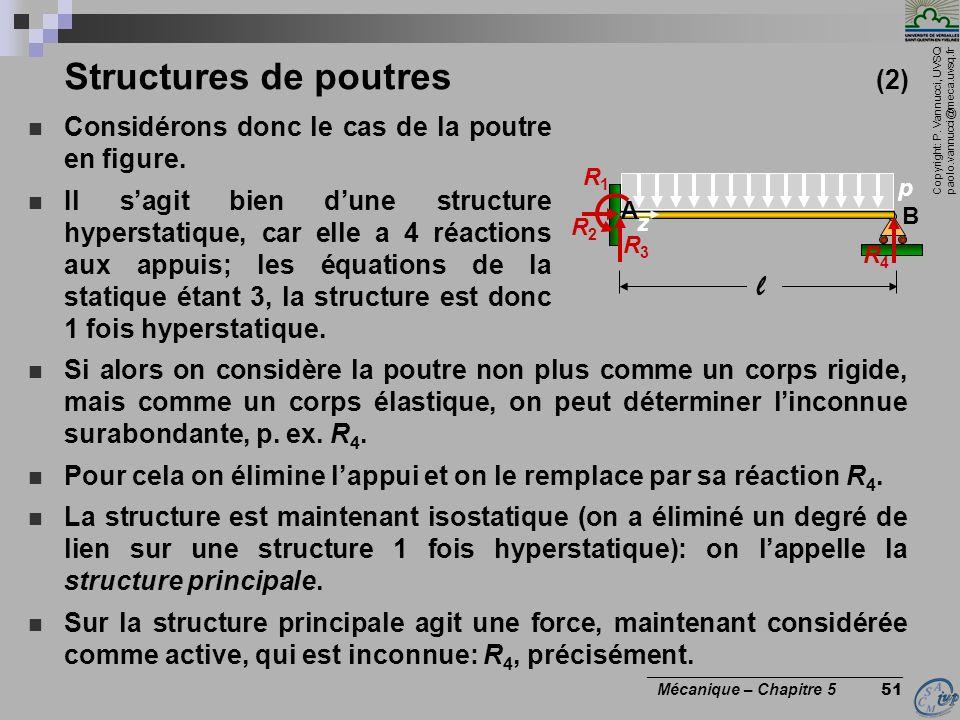 Copyright: P. Vannucci, UVSQ paolo.vannucci@meca.uvsq.fr ________________________________ Mécanique – Chapitre 5 51 z p l Structures de poutres (2) Co