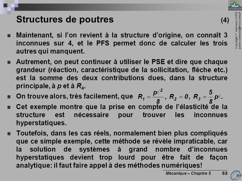 Copyright: P. Vannucci, UVSQ paolo.vannucci@meca.uvsq.fr ________________________________ Mécanique – Chapitre 5 53 Structures de poutres (4) Maintena