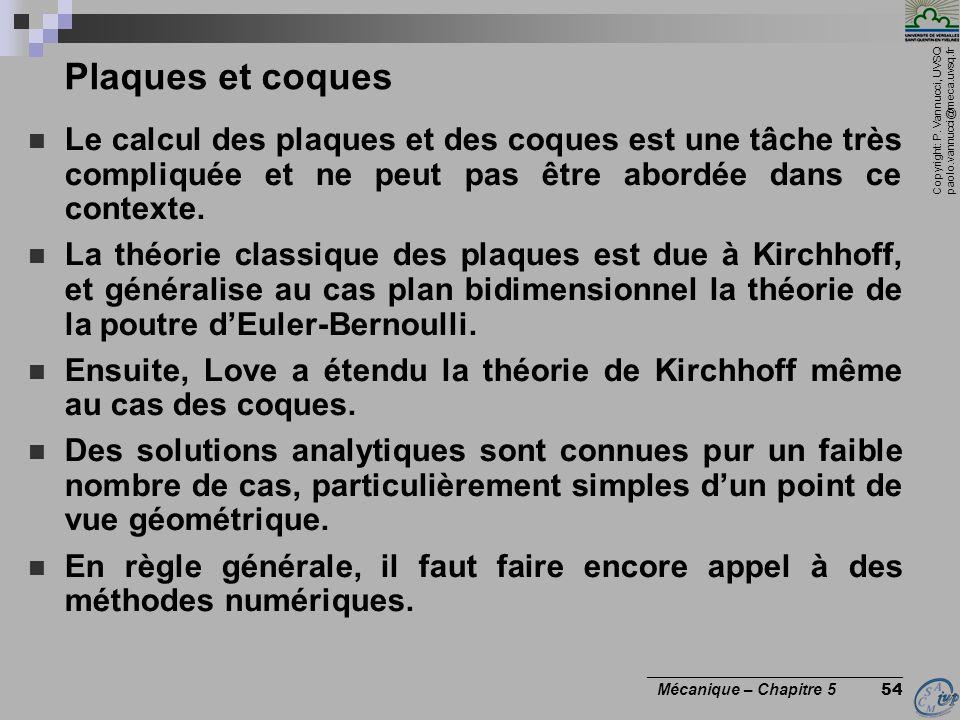 Copyright: P. Vannucci, UVSQ paolo.vannucci@meca.uvsq.fr ________________________________ Mécanique – Chapitre 5 54 Plaques et coques Le calcul des pl