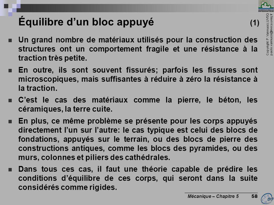 Copyright: P. Vannucci, UVSQ paolo.vannucci@meca.uvsq.fr ________________________________ Mécanique – Chapitre 5 58 Équilibre dun bloc appuyé (1) Un g