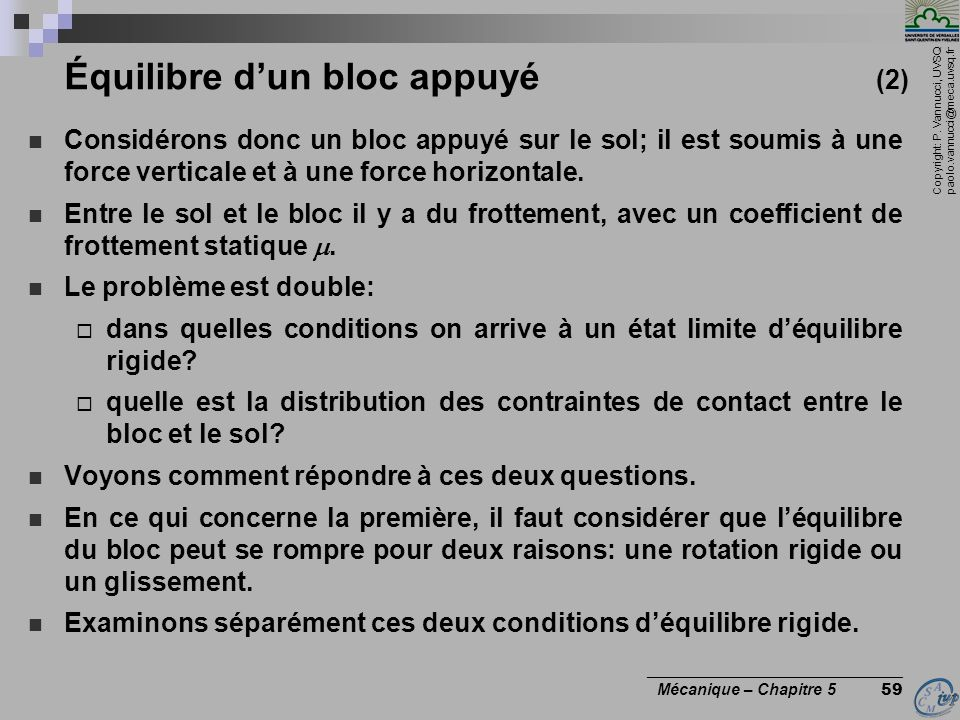 Copyright: P. Vannucci, UVSQ paolo.vannucci@meca.uvsq.fr ________________________________ Mécanique – Chapitre 5 59 Équilibre dun bloc appuyé (2) Cons