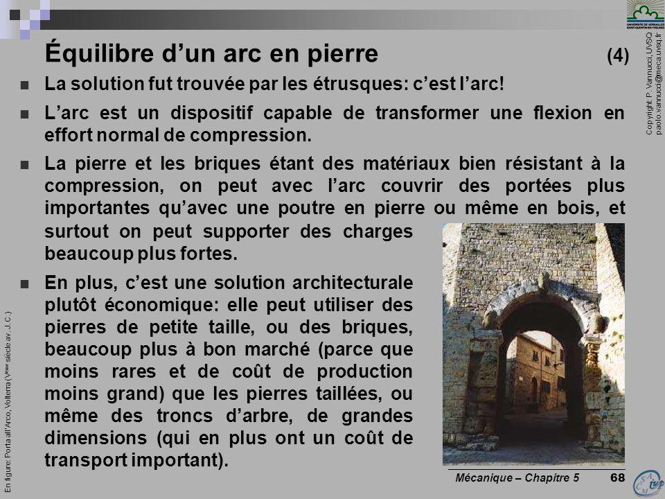 Copyright: P. Vannucci, UVSQ paolo.vannucci@meca.uvsq.fr ________________________________ Mécanique – Chapitre 5 68 Équilibre dun arc en pierre (4) La