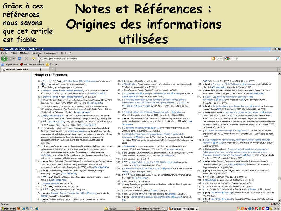 Notes et Références : Origines des informations utilisées Grâce à ces références nous savons que cet article est fiable