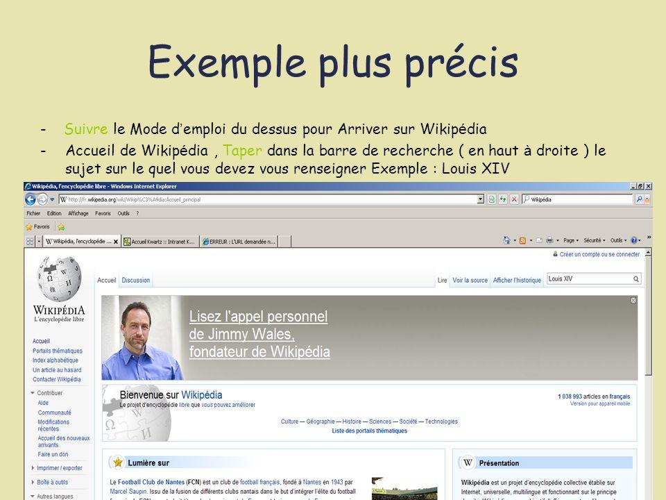 Exemple plus précis - Suivre le Mode d emploi du dessus pour Arriver sur Wikip é dia -Accueil de Wikip é dia, Taper dans la barre de recherche ( en ha