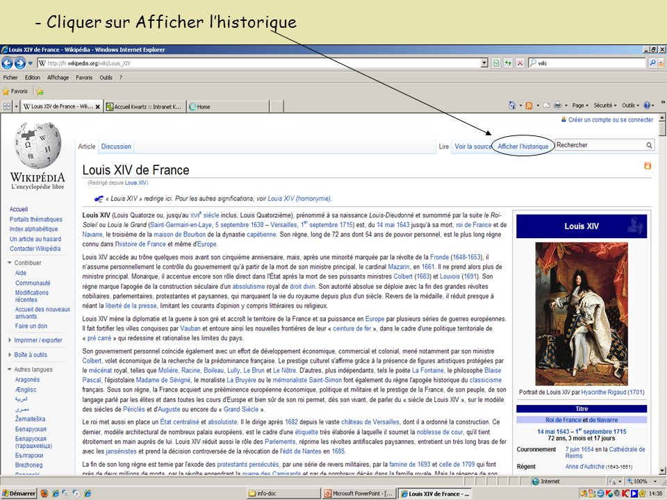 - Cliquer sur Afficher lhistorique