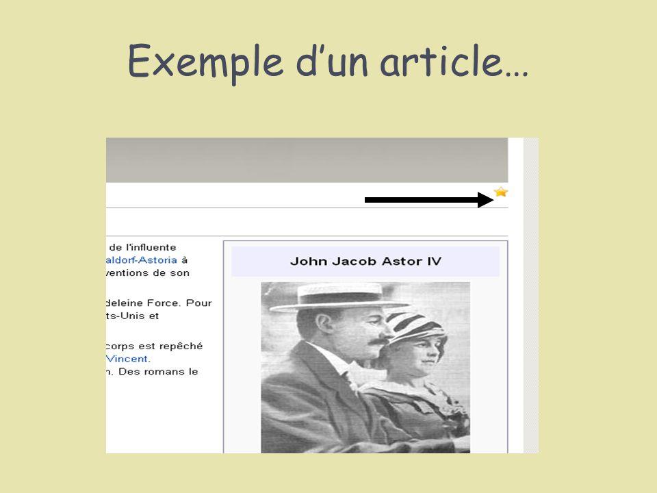 Exemple dun article…