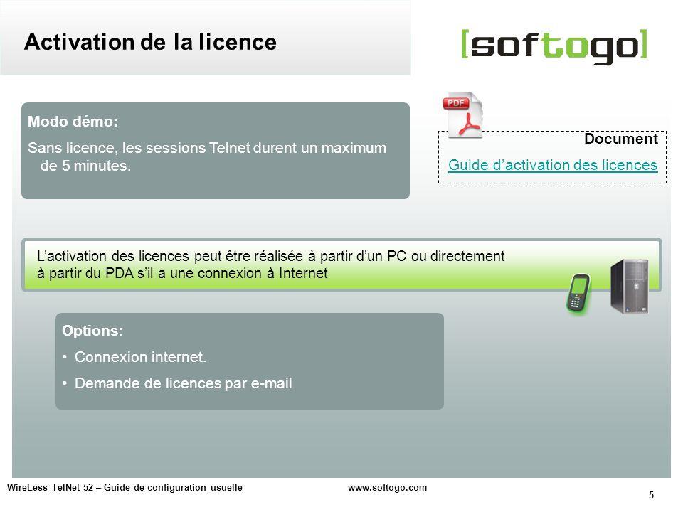 5 Options: Connexion internet. Demande de licences par e-mail Modo démo: Sans licence, les sessions Telnet durent un maximum de 5 minutes. Document Gu