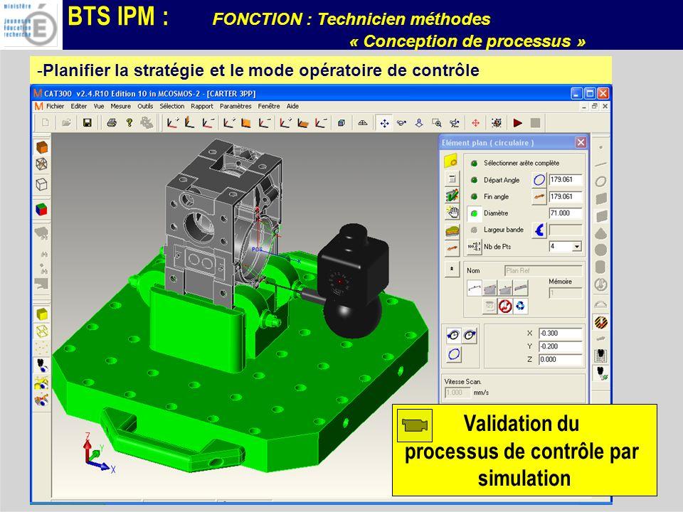 BTS IPM : FONCTION : Technicien méthodes « Conception de processus » -Planifier la stratégie et le mode opératoire de contrôle Validation du processus