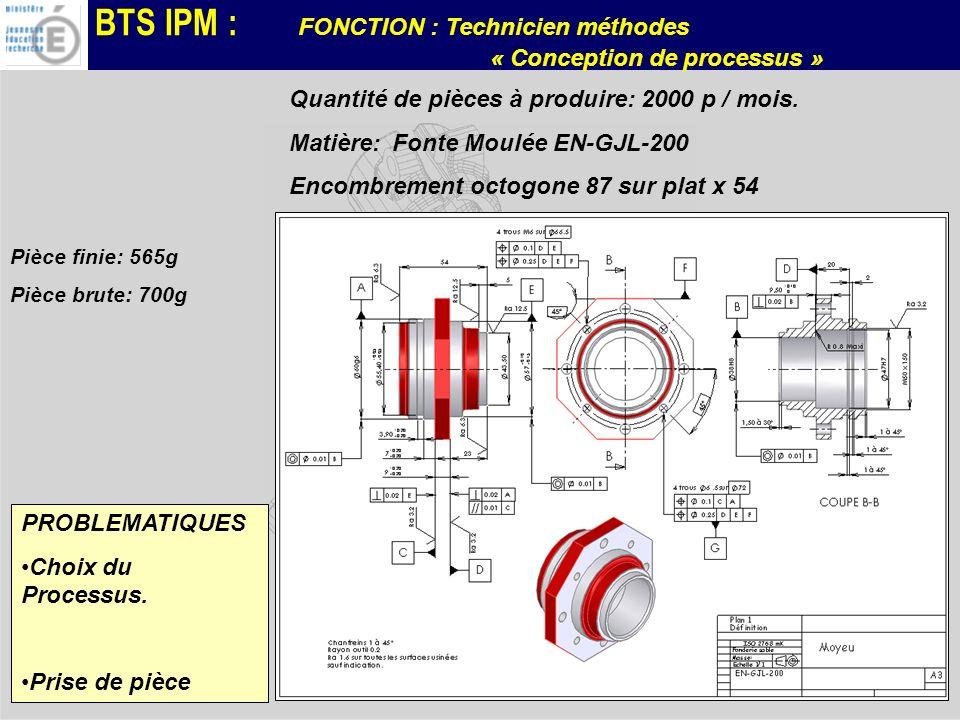 BTS IPM : FONCTION : Technicien méthodes « Conception de processus » Quantité de pièces à produire: 2000 p / mois. Matière: Fonte Moulée EN-GJL-200 En