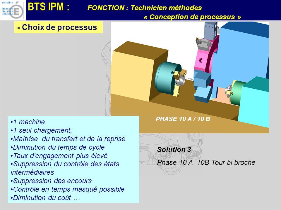 BTS IPM : FONCTION : Technicien méthodes « Conception de processus » Solution 3 Phase 10 A 10B Tour bi broche PHASE 10 A / 10 B 1 machine 1 seul charg