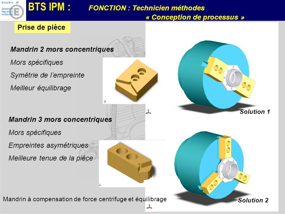BTS IPM : FONCTION : Technicien méthodes « Conception de processus » Solution 2 Mandrin 3 mors concentriques Mors spécifiques Empreintes asymétriques