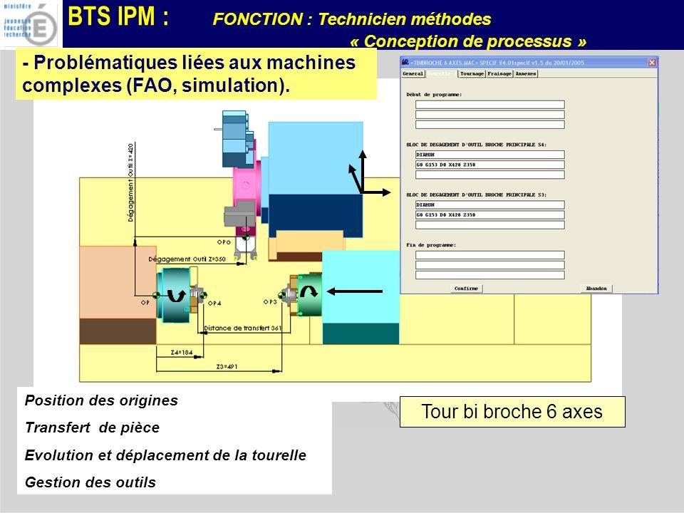 BTS IPM : FONCTION : Technicien méthodes « Conception de processus » Tour bi broche 6 axes Position des origines Transfert de pièce Evolution et dépla