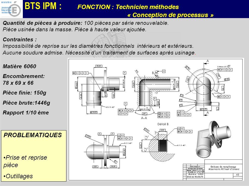 BTS IPM : FONCTION : Technicien méthodes « Conception de processus » PROBLEMATIQUES Prise et reprise pièce Outillages Matière 6060 Encombrement: 78 x